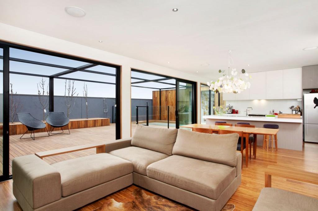 thermally broken aluminium windows in a living room