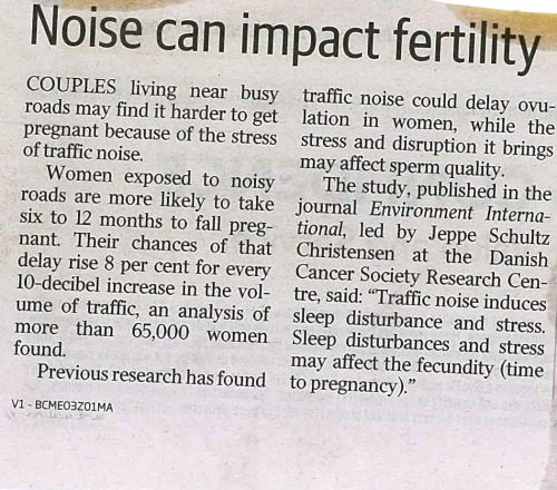 Noise delays pregnancy