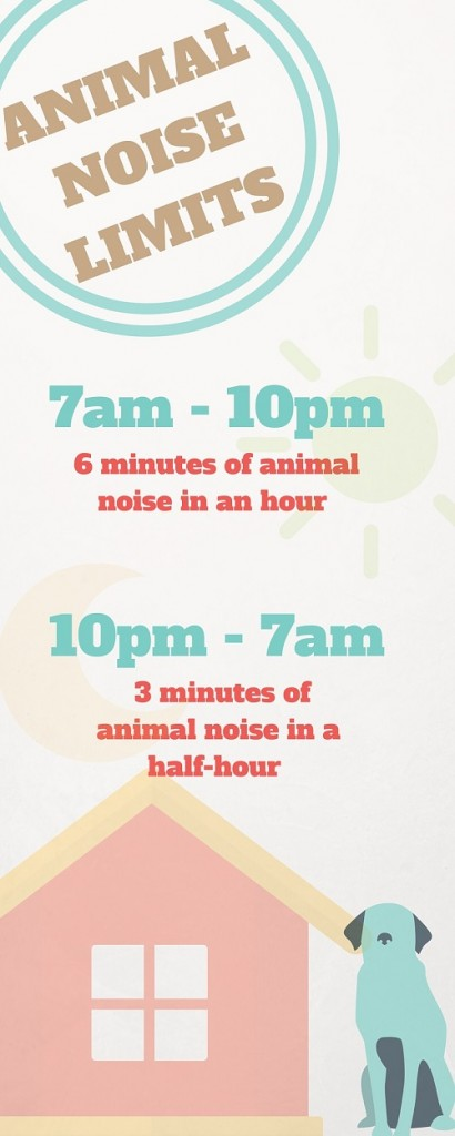 Animal noise limits in Brisbane infographic