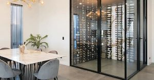 Winsulation builders installing stylish wine cellar inside modern Brisbane home