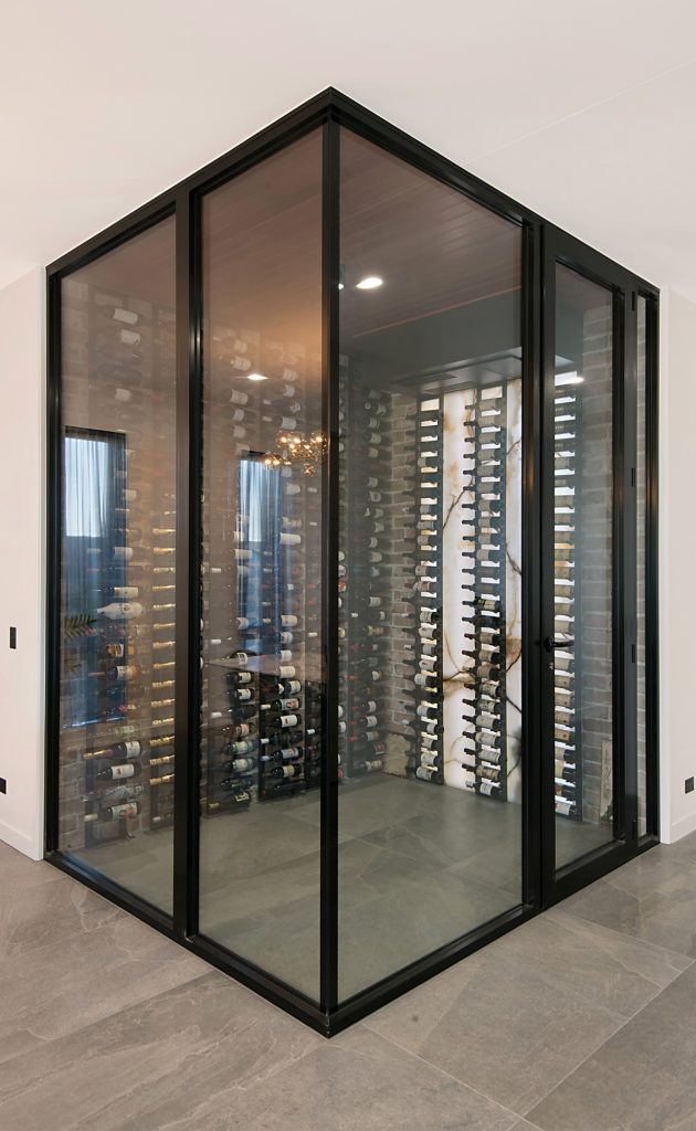 double glazed wine cellar inside Brisbane home