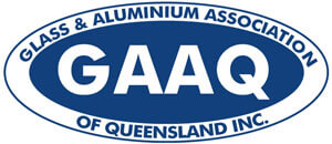 blue and white logo for glass and aluminium association of queensland