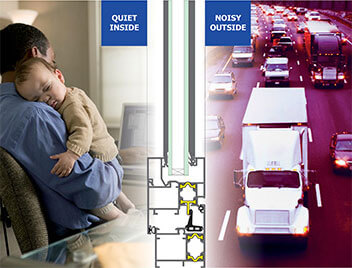 noise reducing double glazed windows to block sound from busy road and cars outside